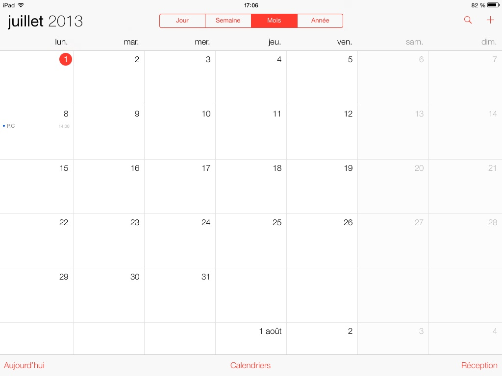 calendrier ios7 beta