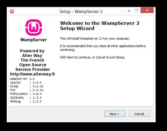 installation wamp écran 1