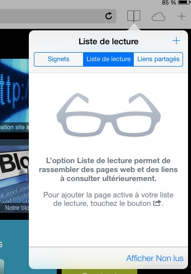 safari ios7 beta liste de lecture