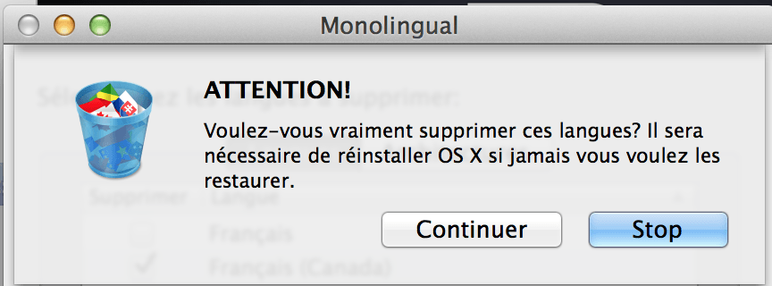 Monolingual-avertissement