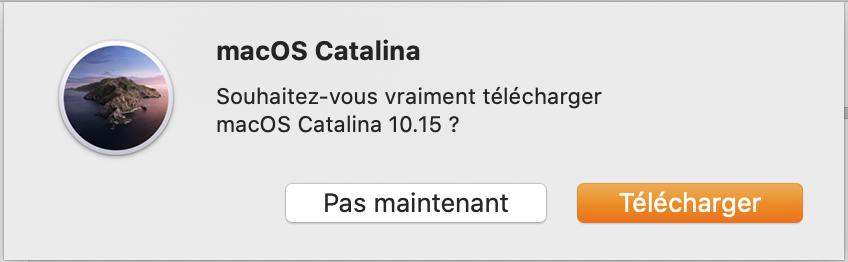 Confirmation téléchargement macOS Catalina