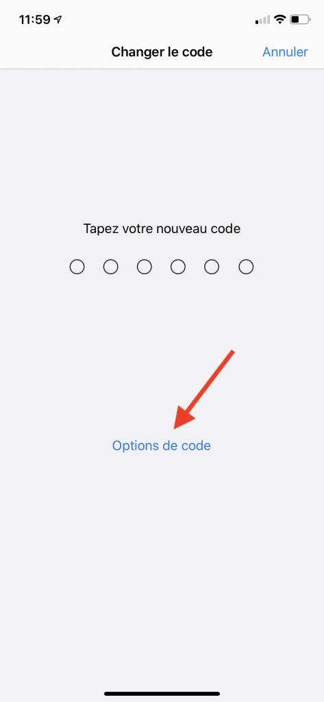 configurer un code alphanumérique sur iPhone 4