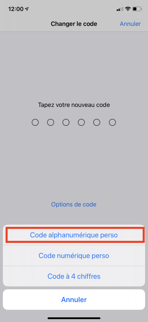 configurer un code alphanumérique sur iPhone 5