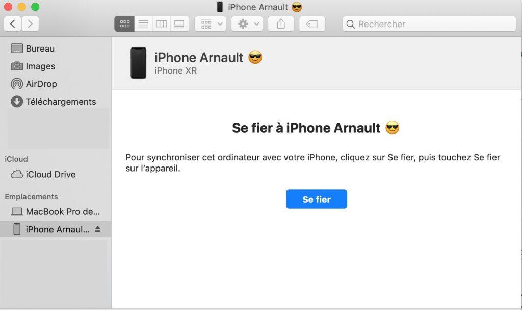connexion iPhone mac