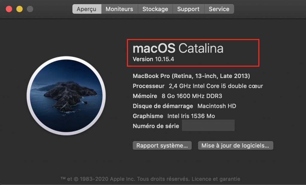 afficher version de macOS