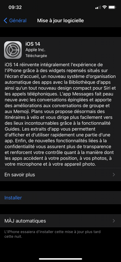 installation iOS 14