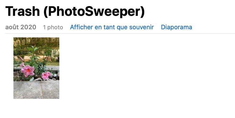 Corbeille PhotoSweeper