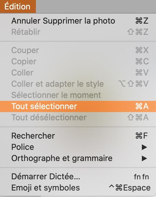 Menu édition de Duplicate Photos Finder.