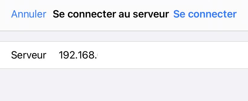 Connecter un lecteur réseau iOS 14 IP