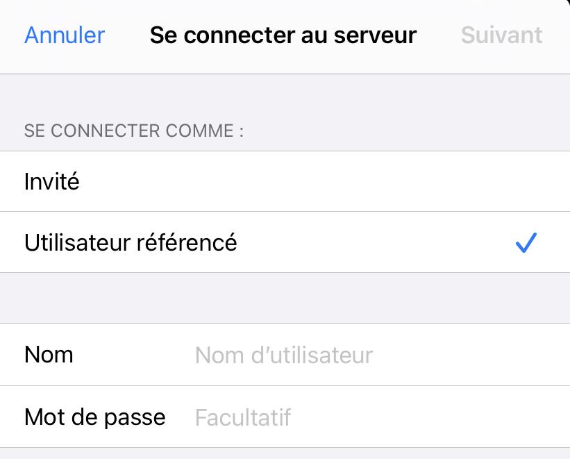 Connecter un lecteur réseau iOS 14 compte
