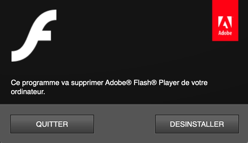 Désinstallation Flash Player