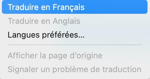 menu traduire Safari