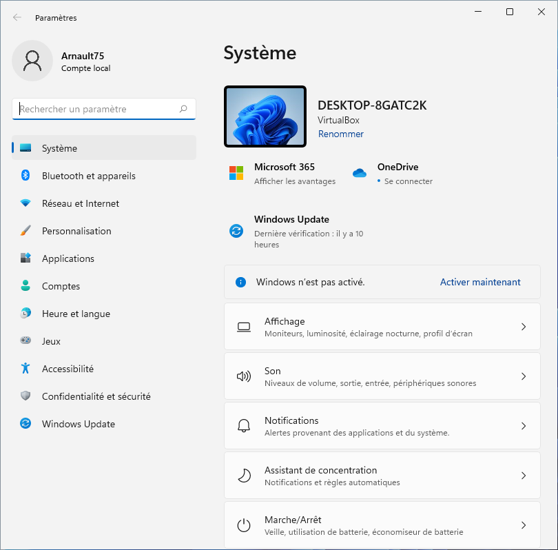 Système Windows 11